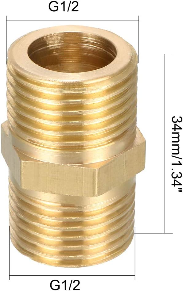 uxcell Brass Pipe Fitting Hex Nipple 1//2 BSP Male X 1//2BSP Male Thread Connectors