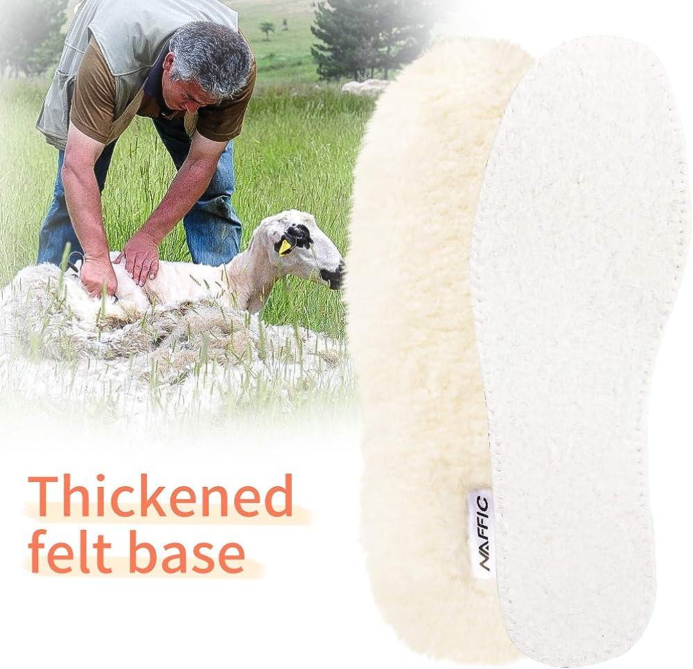 NAFFIC Semelles en peau de mouton,Semelles /épaisses en laine de premi/ère qualit/é Ins Semelles v/éritables en peau de mouton pour hommes et femmes super chaud pour toutes les chaussures