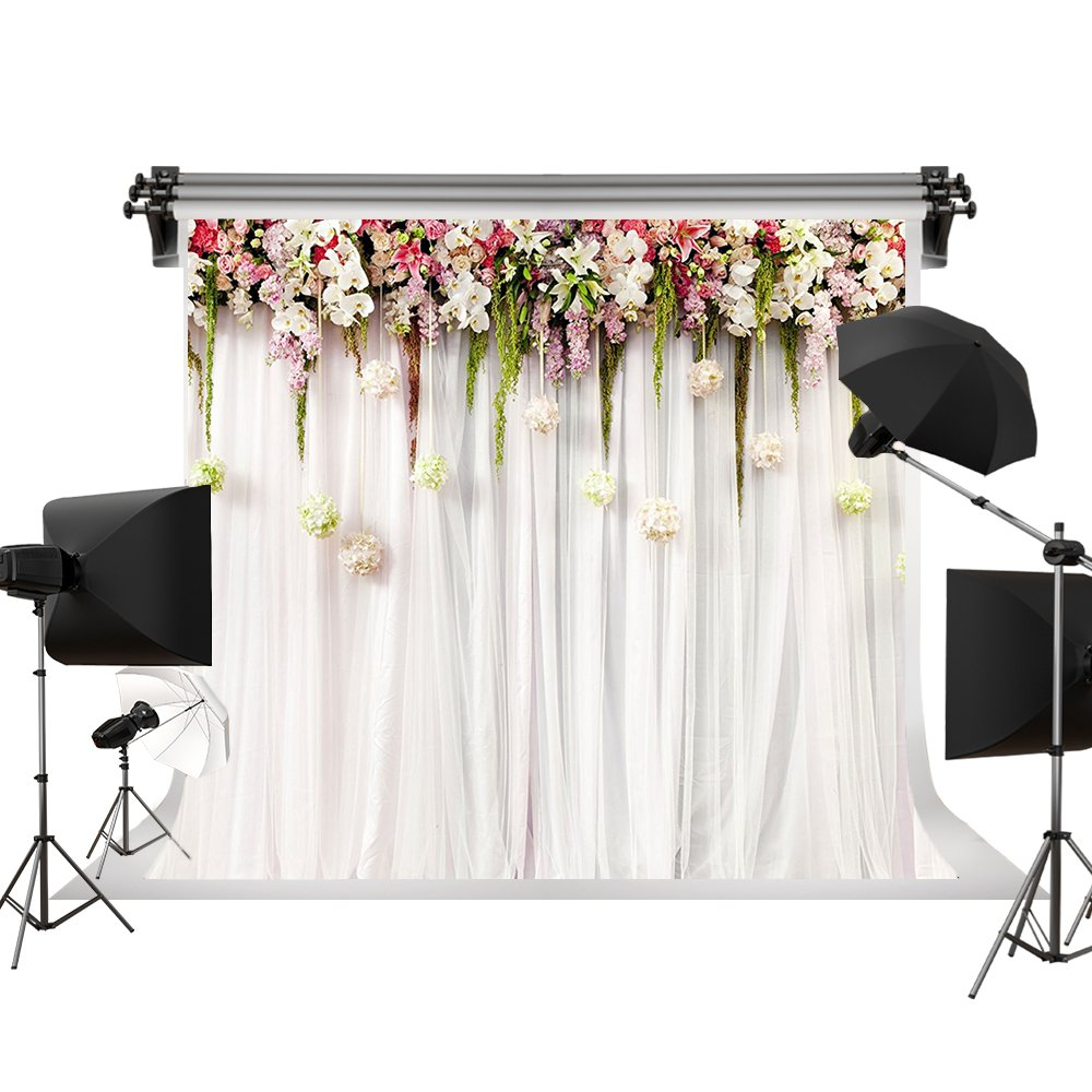 Kate Wedding Photo backdrops White Wedding Party Backgrounds for Photography Studio Flower Backdrop 7x5ft(2.2x1.5m)