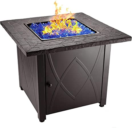 Amazon Com Endless Summer 30 Outdoor Propane Gas Fire Pit Table Blue Fireglass Garden Outdoor