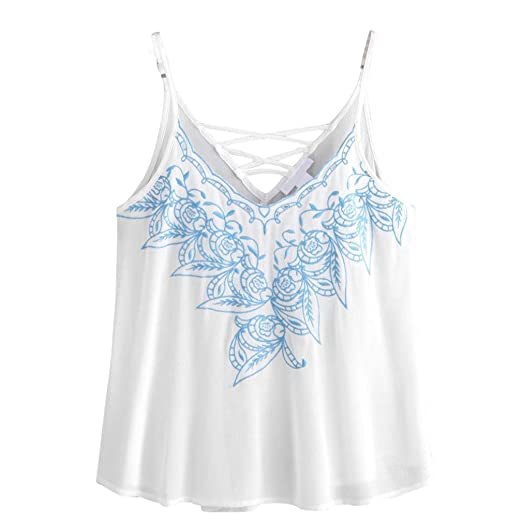 f7b014e67efa80 Wensltd Clearance! Women Tank Tops Flower Embroidered Strappy Cami ...
