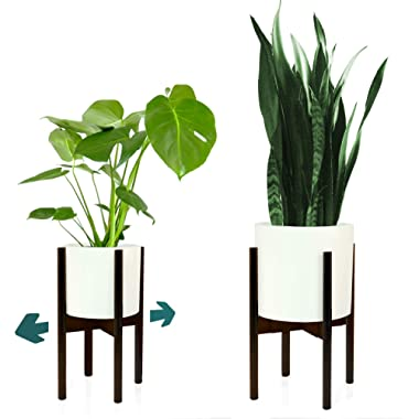 FOX & FERN Mid-Century Modern Plant Stand - Adjustable Width 8  up to 12  - Dark Bamboo -Excluding White Ceramic Planter Pot