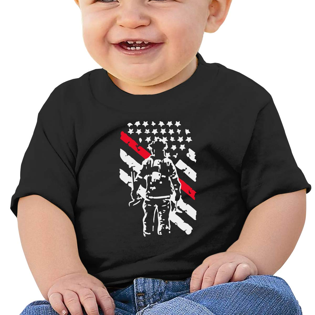 Firefighter Thin Red Line Baby Boys Girls Short Sleeve Crewneck T-Shirt 6-18 Month Tops