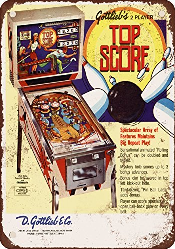 Amazon.com: 1975 Top Score Pinball Machine Vintage Look Reproduction Metal Tin Sign 8X12 Inches: Home & Kitchen
