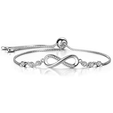 a93da164fb23 J.Fée FINE JEWELLERY J.Fee Adjustable Bracelets Sterling Silver Endless  Love Infinity Symbol Charm Bracelet Crystal Bracelet for Her for Girlfriend  Birthday ...