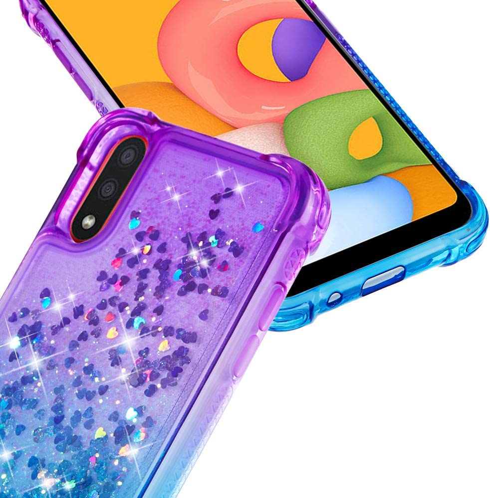 Adamarkeer Designed for Samsung Galaxy A10 Case Gradient Rainbow Crystal Clear Soft TPU Silicone Cover Ultra Thin Flexible Transparent Bumper Shockproof Protective Girls Women Case Pink/&Purple