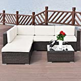 UBRTools 4 PCS Outdoor Patio Rattan Wicker Furniture Set Loveseat Cushioned Yard Garden