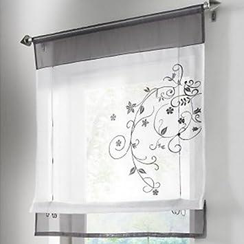 Amazon.de: Souarts Grau Stickblume Gardine Raffgardinen Vorhang ...