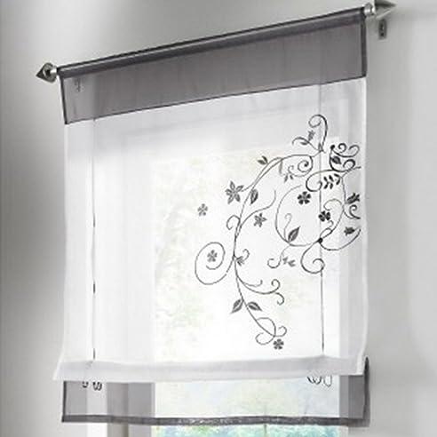Amazon.De: Souarts Grau Stickblume Gardine Raffgardinen Vorhang