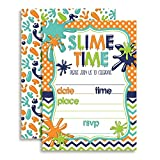 Slime Birthday Party Invitations for Boys, Ten 5''x7'' Fill In Cards with 10 White Envelopes by AmandaCreation