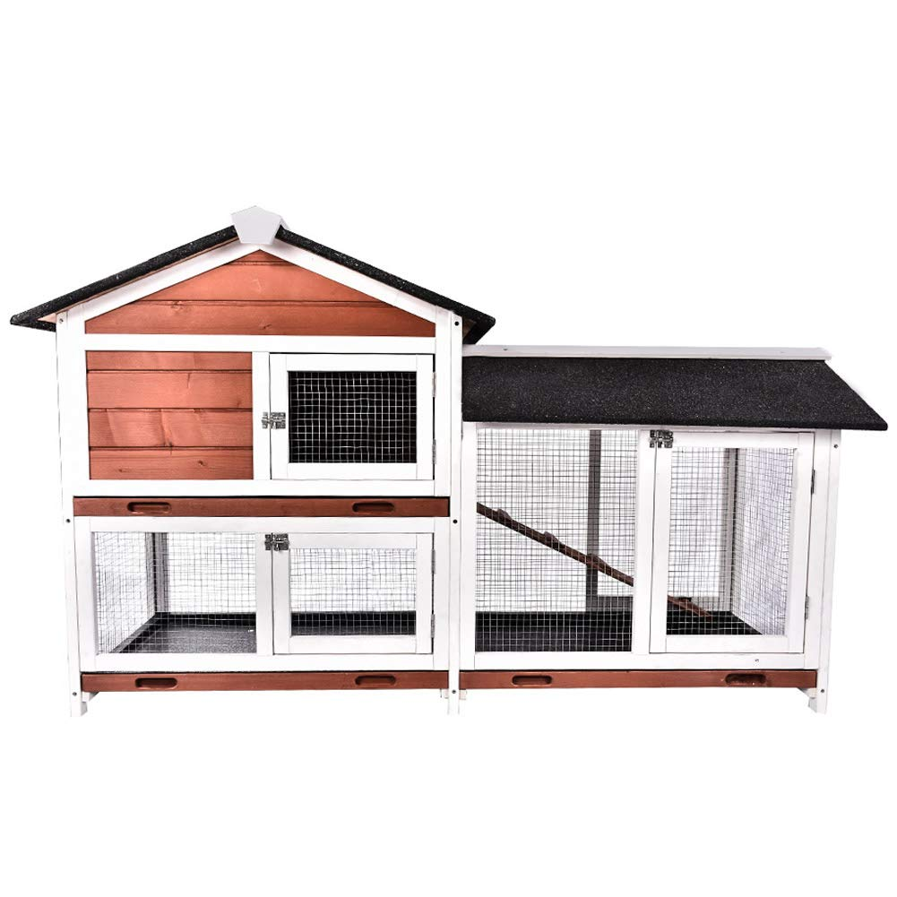 HooWii Wooden Rabbit Hutch Outdoor - Bunny Cage Chicken Coop Guinea Pig House with Waterproof Roof, Ladder - Pet House for Small Animals by HooWii