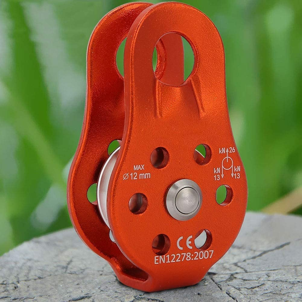 Color : Orange MAGT Climbing Pulley 26KN Aluminium Alloy Heavy Duty Single Swivel Rope Pulley Block for 12mm Rope Climbing