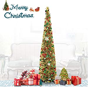 QTIVY 6 Foot Pop Up Christmas Trees with Shiny Pieces Collapsible Easy-Assembly Artificial Tinsel Tree for Home & Party & Office & Fireplace Décor (6FT Gold Color)