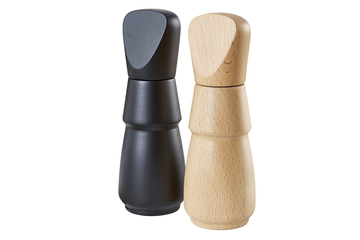 Buonostar 2-piece wooden spice mill with ceramic grinder. Mills are in 2 colors black for pepper and light for salt. Can be used in many different ways: grinds salt, pepper, spices, dried herbs. ST-AR GmbH & Co. KG