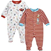 Pekkle Baby 2-Pack Footed Sleeper, Snap, Sleep & Play Onesie Unisex Pajamas, Red/White, 3 Months