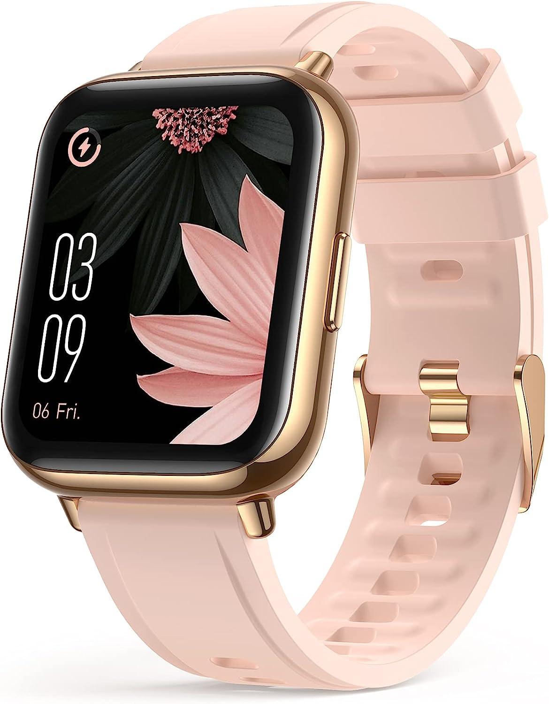 AGPTEK Smartwatch Mujer, 1.69'' Reloj Inteligente Deportivo IP68 con SpO2 Oxígeno en Sangre Monitor de Frecuencia Cardíaca, Sueño Podómetro y Calorías, Rosa