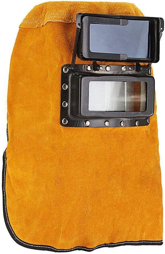Casco de soldadura, Casco de soldadura Conveniente Amarillo Soldadura Casco Cantidad Cuero de Cuero Protección -15 ° -65 ° Ojos Montados en Cabeza Protección Arc TIG MIG,gafas protectoras