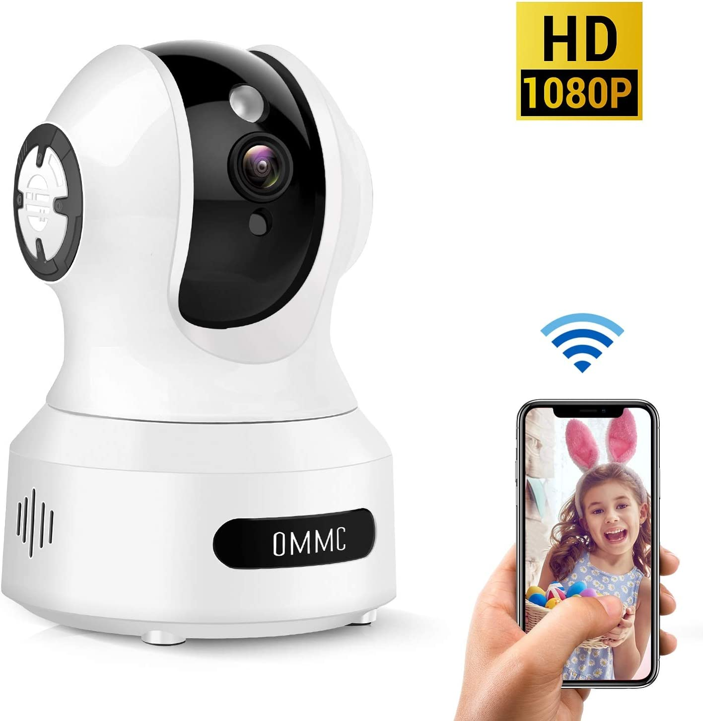 Baby Monitor, OMMC Wireless Home Security Camera 1080P IP Camera with Night Vision 2-Way Audio Motion Detection, Works with Alexa