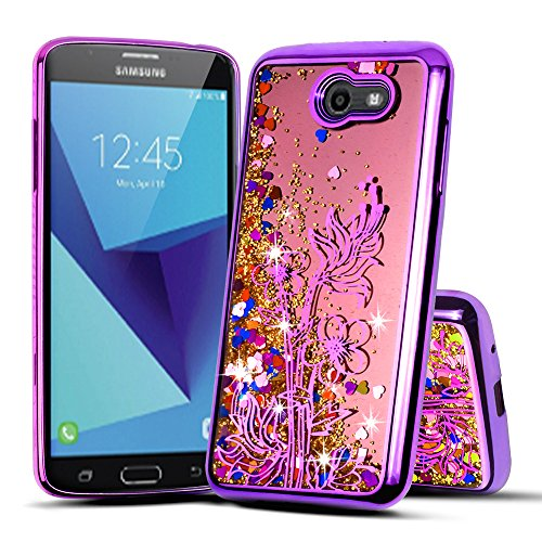 Price comparison product image For Samsung Galaxy J7 2017/­­­­­­Sky Pro/J7 Prime/J7V/J727/Perx/Halo Cute Liquid Glitter Flowing Sparkle Hearts Floral Shockproof Protective TPU Case [Free Emoji Keychain!] (Purple)
