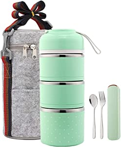 YBOBK HOME Bento Lunch Box Leakproof Stainless Steel Stackable Lunch Box with Bag and Reusable Flatware Set Thermal Food Storage Container for Healthy On-the-Go Meal and Snack Packing (3-Layer, Green)
