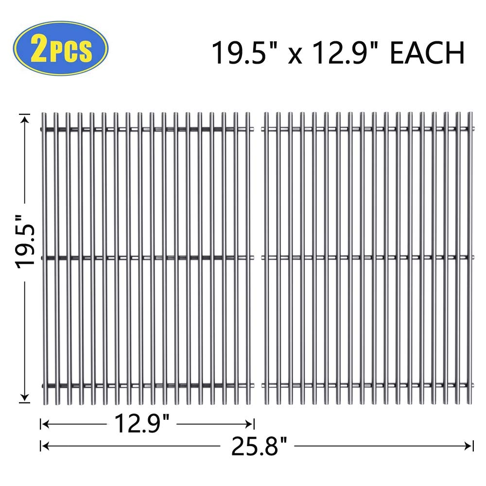 X Home 7528 19.5 Inch Stainless Steel Grates for Weber Genesis 300 310 Parts, Genesis E310 E320 E330 Grill Grates, Genesis 310 320 330 Grill Parts, Pack of 2 (19.5 x 12.9) Cooking Grates for Weber