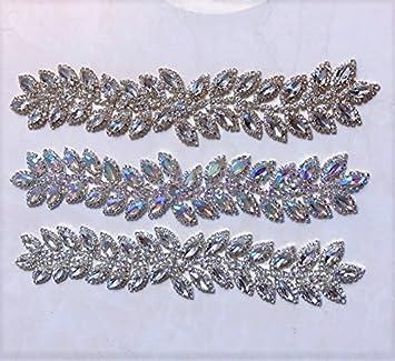 f51e25f6d9 Amazon.com: silver Crystal Rhinestone Leaf Bridal applique/ Sash ...