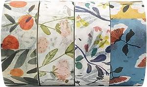 EnYan 4 Rolls Washi Masking Tapes Set, Japanese Decorative Writable Rural Natural Summer Autumn Flower Tape for DIY Crafts Arts Scrapbooking Bullet Journal Planners
