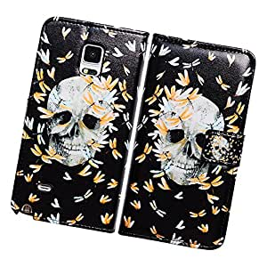 Fabcov Packing Bcov Skull Flowers Black Leather Wallet Cover Case For Samsung Galaxy S6 Edge+