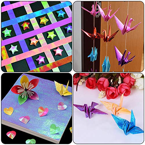 BigOtters Origami Paper, 200 Sheets Shiny Iridescent Paper 2 Sizes Square Folding Paper Handcraft Paper Decoration Paper for Kid DIY Paper Crane Stars Airplanes Teaching Arts Craft, 10 Colors