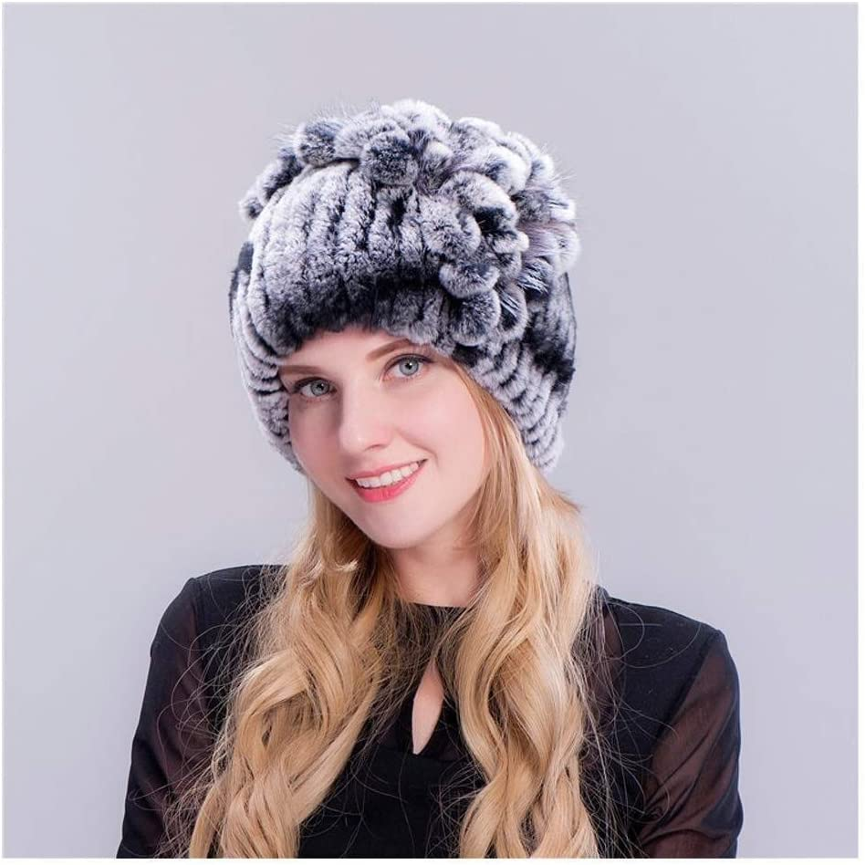 Lgqbh Womens Stylish Fashion Winter Rex Rabbit Fur Warm Top Flower Fur Thicken Ear Protector Cap Color Gray Black Amazon Co Uk Kitchen Home