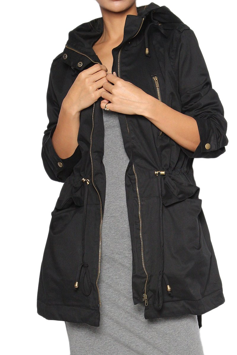 TheMogan Women's Plus Size Anorak Military Safari Drawstring Hooded Jacket 1X~3X F21-CJ151X