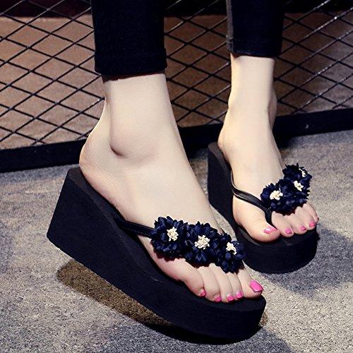 fereshte Womens Beach Thong Platform Wedges Flip-Flops Sandals With Flower 1449-blue Black nLjNIj