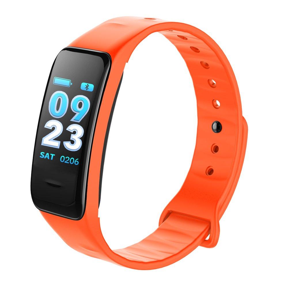 Orange  KTYX Bracelet Couleur écran Tactile Bracelet De Surveillance du Rythme voiturediaque Montre Intelligente (Couleur   Bleu)