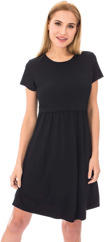 Bearsland Women S Short Sleeves Maternity Dress Nursing Breastfeeding Dresses With Pockets At Amazon Women S Clothing Store