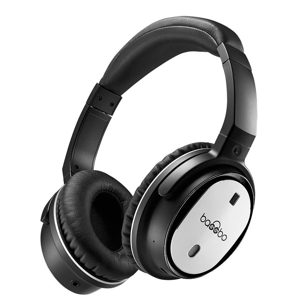 Bassbo Active Noise Cancelling Bluetooth Headphone with Built-in Mic,Stereo System,Wireless and Wired,Over-Ear Stretchable,Comfortable and Light earpads Design (Black)