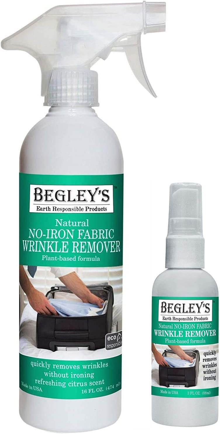Begley's Best Natural No-Iron Wrinkle Remover, Quick Fix Wrinkle Release, Static Cling Remover, Fabric Freshener - USDA Certified Biobased - Refreshing Citrus, 16 oz & 3 oz Travel Size Combo
