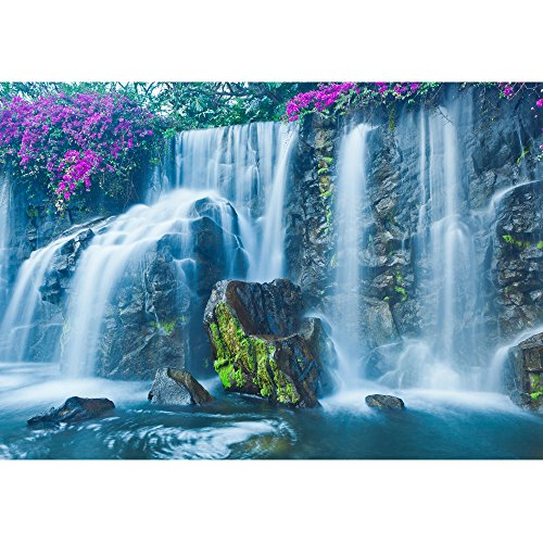 wall26 - Beautiful Blue Waterfall in Hawaii - Removable Wall Mural | Self-Adhesive Large Wallpaper - 100x144 inches by wall26 (Image #1)