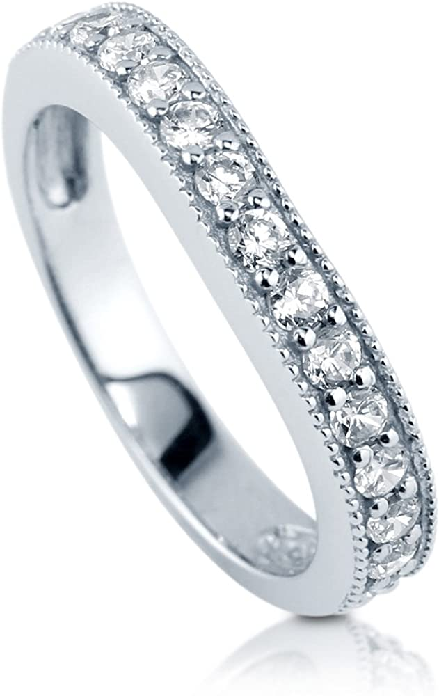 BERRICLE Rhodium Plated Sterling Silver Cubic Zirconia CZ Anniversary Wedding Curved Half Eternity Band Ring