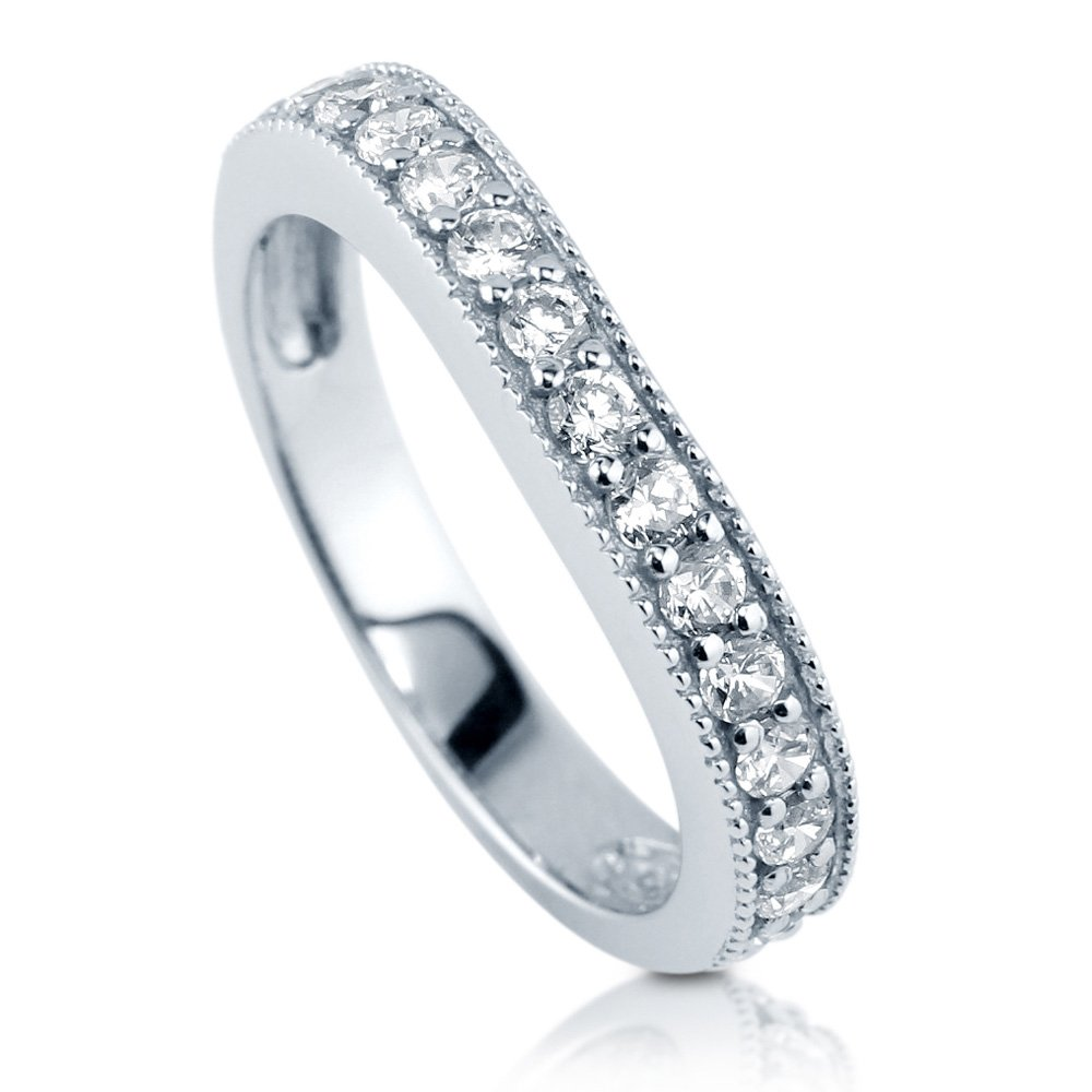 BERRICLE Rhodium Plated Sterling Silver Cubic Zirconia CZ Curved Half Eternity Band Ring Size 8
