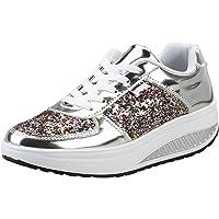 Mujer Cuero Zapatillas de Deporte con Plataforma de Cuña Aptitud Gimnasio Zapatos de Baile para Caminar con Cordones 4…