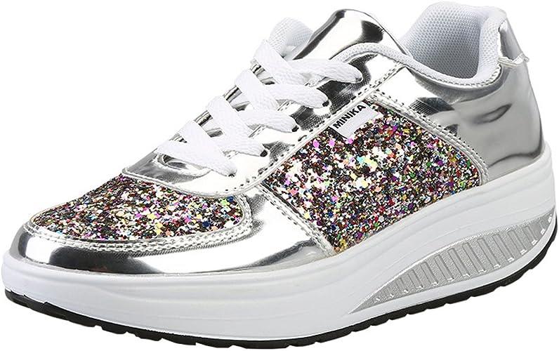 Femme Baskets Compensée Plateforme de Léger Chaussures de Marche Fitness Gym Sport