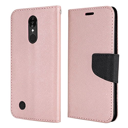 LG K20 V (VS501), LG K20 Plus, LG Harmony, LG Grace LTE Case, Luckiefind PU Leather Flip Wallet Credit Card Cover Case, Screen Protector & Stylus Pen Accessory. (Wallet Rose Golden)