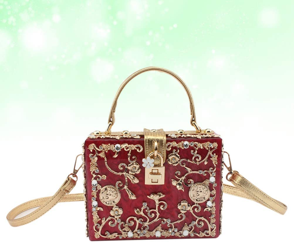 1Pc Borsa a tracolla in pelle delicata in acrilico con pochette Borsa a tracolla casual a tracolla per donna Ragazza (rosa) Claret