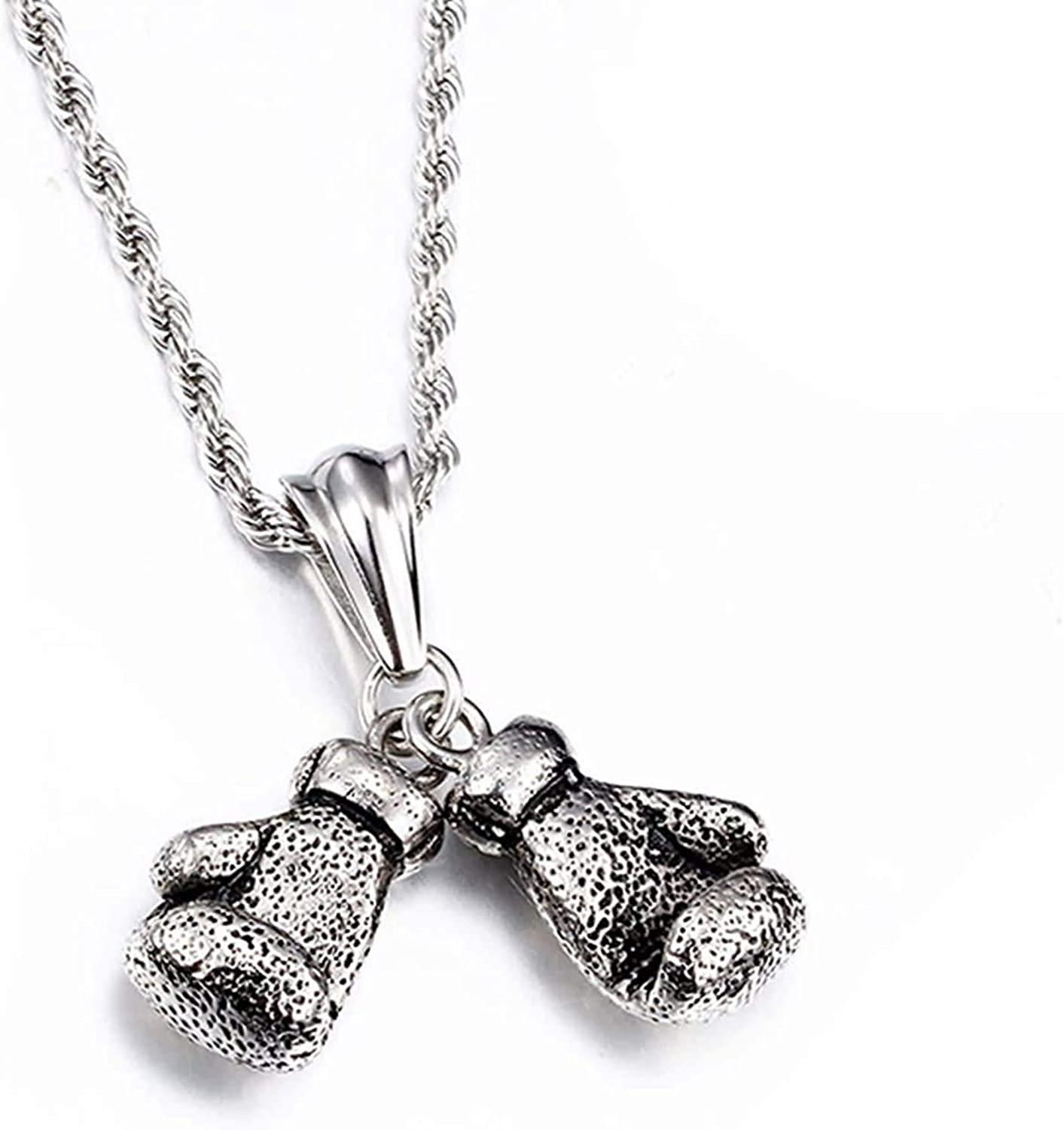 LOPEZ KENT Mens Stainless Steel Necklace Pendant Gothic Necklace Boxing Gloves Silver Necklace