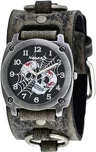 Nemesis #FRB931K Men's Web of Skulls Wide Grey Leather Cuff Band Watch