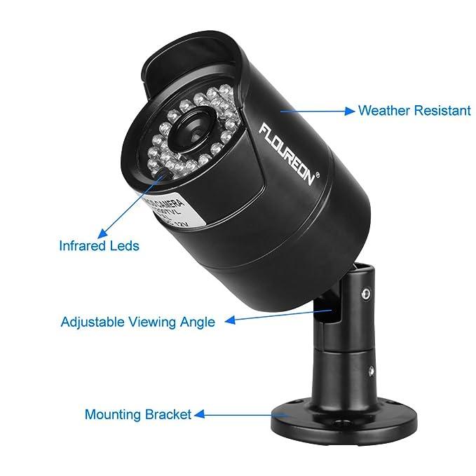 Floureon - Kit de 4 Camaras de Vigilancia Seguridad (H.264 CCTV DVR P2P 8CH Onvif 1080P y 4 Camaras Impermeable, Circuito Cerrado, Ir-cut, Visión Nocturna, ...