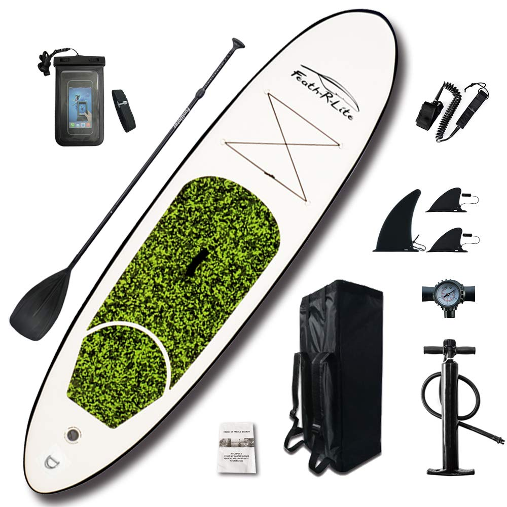 FEATH-R-LITE All Round Paddle Board 10'Length 30'' Width 4'' Thick Inflatable Sup with Adjustable Paddle,ISUP Travel Backpack,Leash (Green, 10') by FEATH-R-LITE
