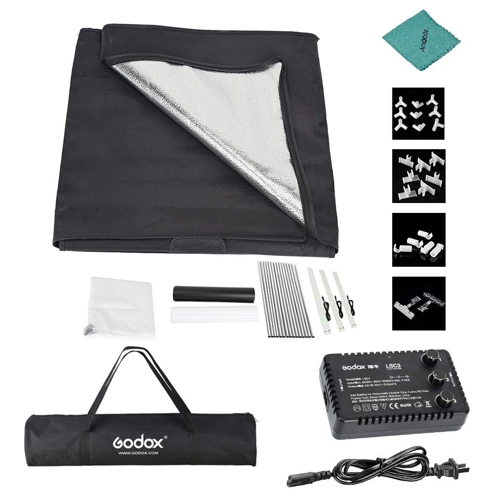 Godox LST80 808080cm LED Mini Photography Studio Shooting Tent Softbox with 3pcs LED Light Board 5800K CRI 96+ Power 60W for Macro and Product Photography with Andoer Cleaning Cloth by Godox (Image #9)