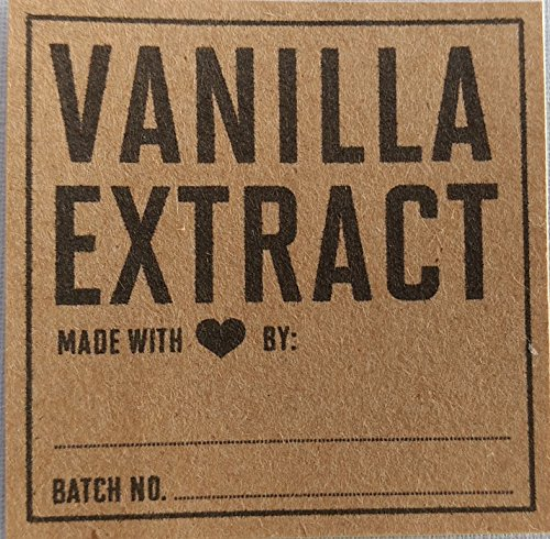 Vanilla Extract (made with heart by) Labels on Kraft Paper - Package of 18. (Heart Vanilla)