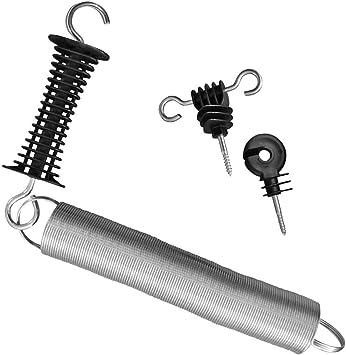 Torgriff-Set für Weidezaun mit Torgriff mit Feder und 2 Stück Torgriffisolatoren
